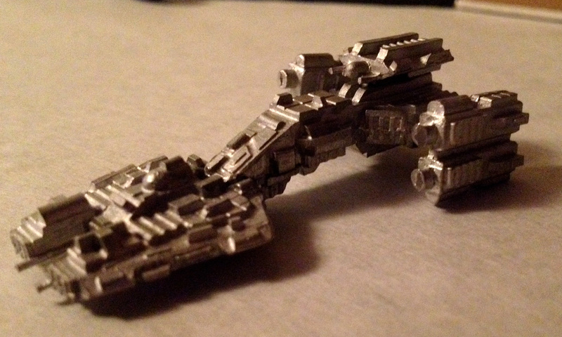 Here's the assembled ESU battlecruiser.