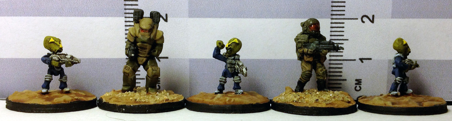 15mm Little Green Imperialist Warriors PLA-12 size comparison with GZG and Rebel Miniatures